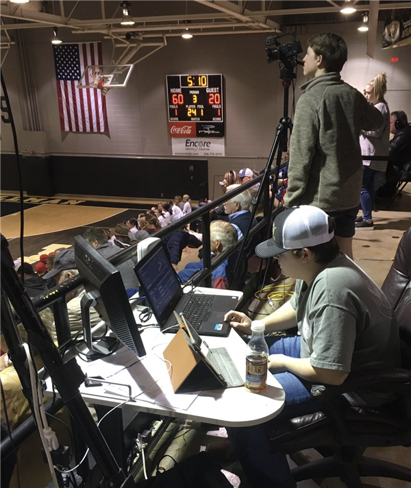 2018 - 2019 Broadcast crew at basketball control panel