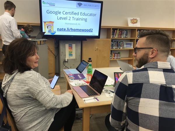 Aimee Bates and Michael Fowlkes at Google level 2 certification bootcamp